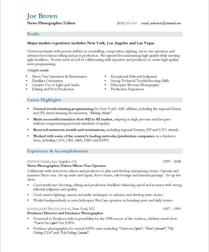 Professional Photographer Resume Exles Of