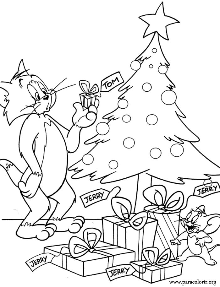 tom and jerry got christmas presents wow i think that tom was not happy christmas coloring pageskids