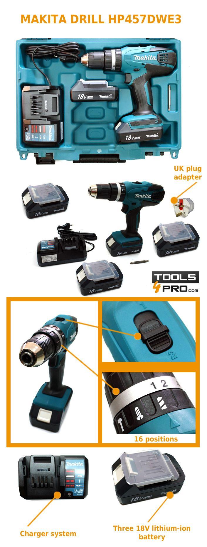 Makita combined drill 18V HP457DWE3 + FREE Makita 34pc Drill Bits Set D-36980 - Tools4Pro