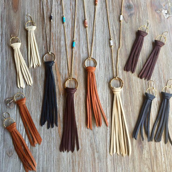 Leather Tassel Circle Necklace   Etsy