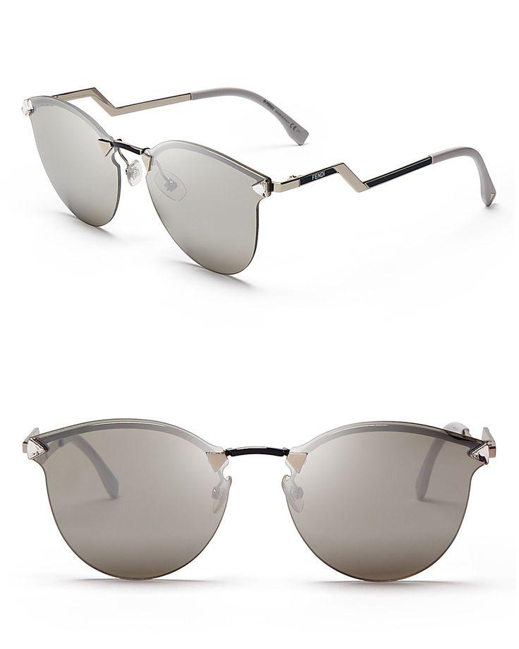 Fendi Mirrored Rimless Cat Eye Sunglasses, 50mm