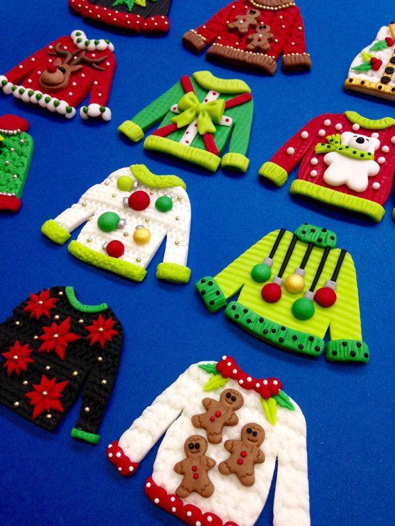 Ugly Christmas Sweater Cupcake Toppers Fondant Christmas