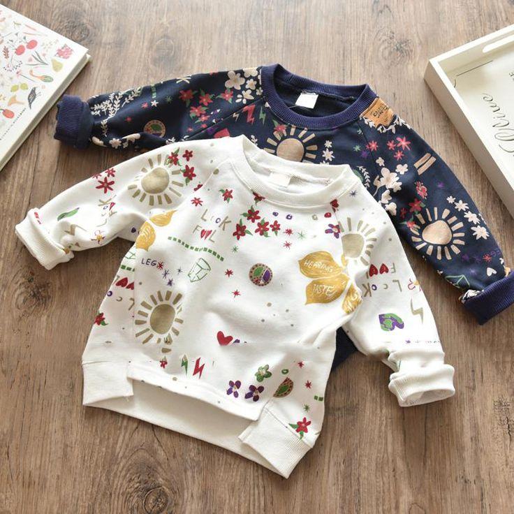 2017 autumn girl long sleeve top print flowers t-shirt //Price: $ //     #fashionkids