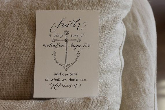 Hebrew 11:1 Hand-Lettered Scripture Print Bella by Paperglaze