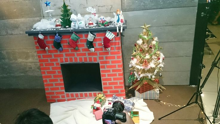 Fireplace and christmas tree made from cardboard