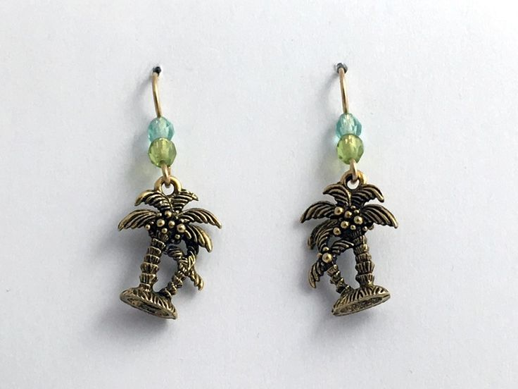 Gold tone Pewter &14kgf palm tree earrings-ocean-tropics, palms, trees, island