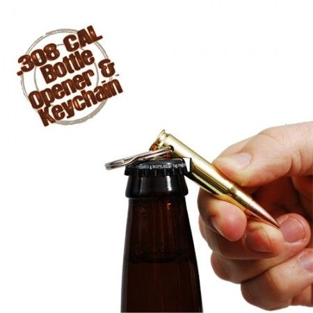 A decommissioned real .308 caliber bullet made into a really cool bottle opener keychain.  Made in USA by REAL BULLET.