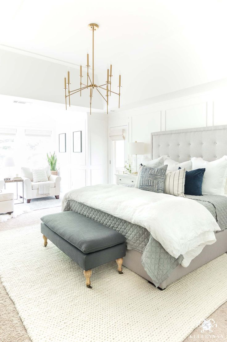 Neutral master bedroom design ideas with gray