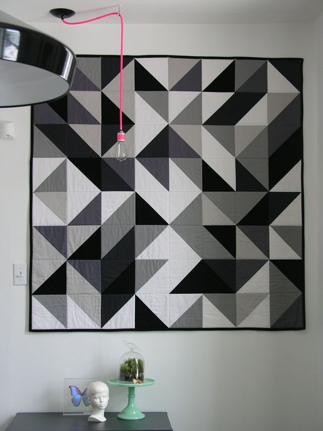 This post is actually about this DIY neon light pendant, but I dig the HST quilt in the background! :)