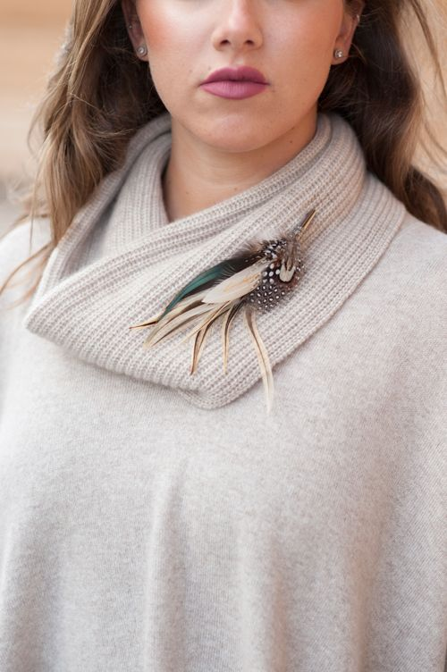 country style luxury feather brooch, Cashmere knitwear by @cashmere&cotton  #cashmere #winter #knitwear #country #accessories #pheasant #feathers #pin