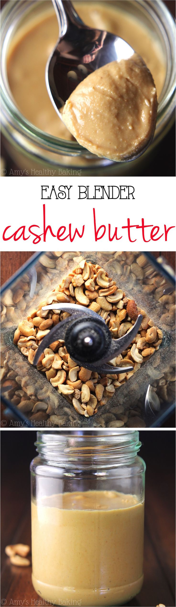 Easy Blender Cashew Butter -- you just need 2 ingredients & 10 minutes! This tastes SO much better than store-bought for half the price!