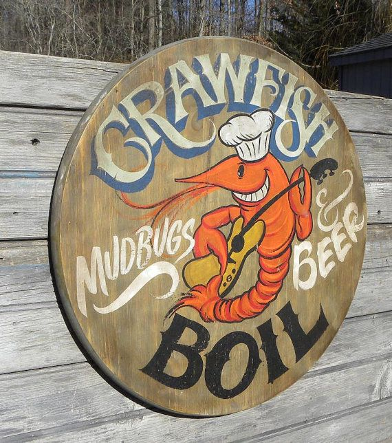 """Crawfish Boil Sign, original, wooden sign, """"faux vintage"""", decor,Cajun ZFS CB2"""