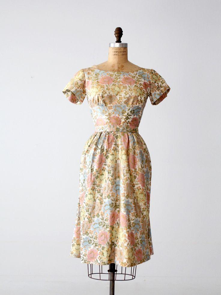 vintage 40s Mollie Parnis floral dress