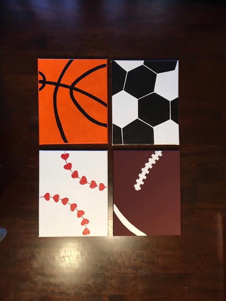 Set of 4 Sports Canvas - Football Canvas - Baseball Canvas - Soccer Canvas - Basketball Canvas by CraftyMindsBoutique on Etsy