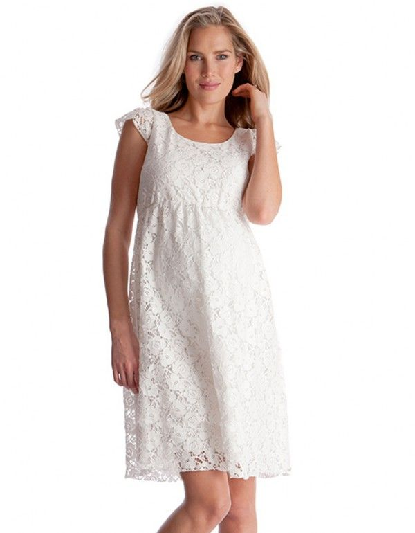 White Lace Maternity Dress Front