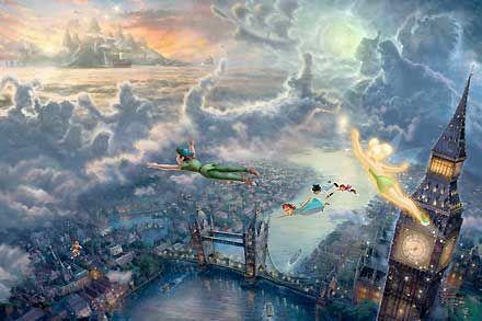 Peter Pan - Tinker Bell and Peter Pan Fly to Neverland - Thomas Kinkade - World-Wide-Art.com #Disney #Kinkade