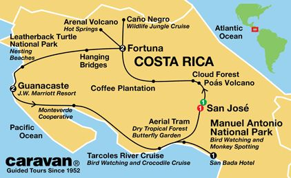 Costa Rica Tour Map by Caravan tours