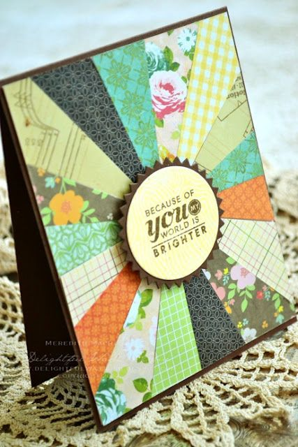 Card made using scraps of various patterned papers and Papertrey Ink Stamps: Modern Wood Mats