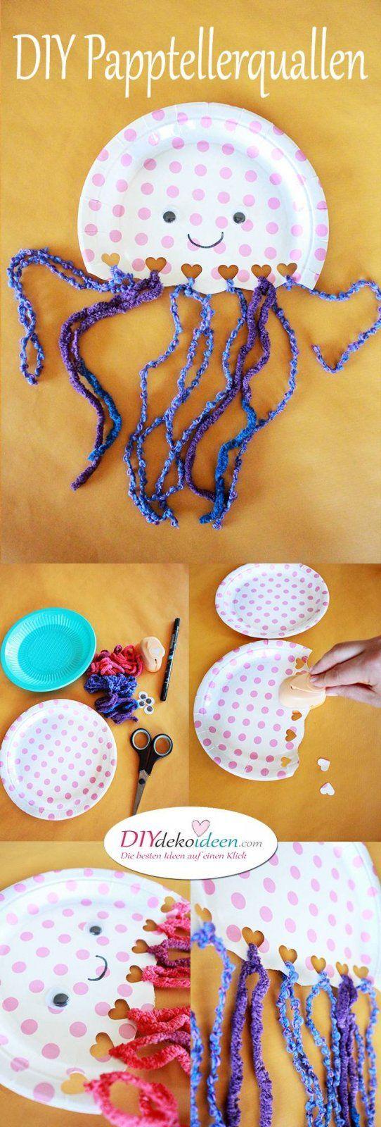 Quallen aus Papptellern – DIY Bastelideen fürs Basteln mit Kleinkindern