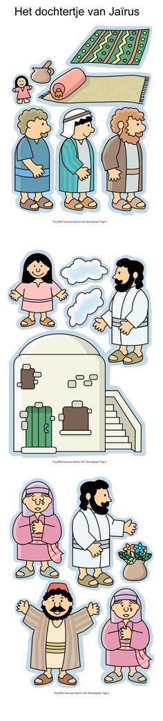 Het dochtertje van Jaïrus, flanelplaten voor kleuters, kleuteridee.nl , The daughter of Jairus, Flannel Bible Sheets, free printable 1