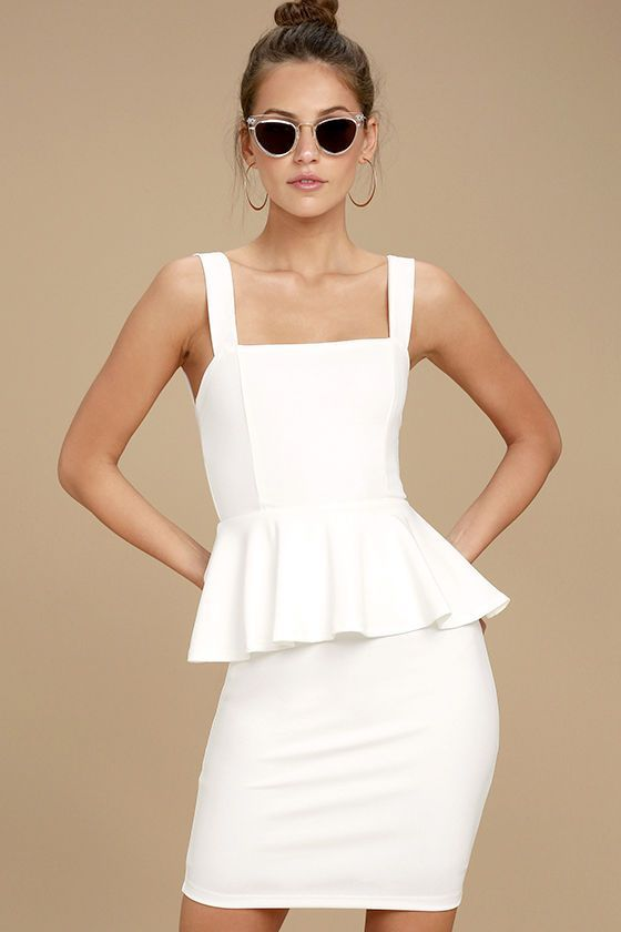 The One More Kiss White Peplum Dress will have 'em begging for another smooch! Stretch knit forms wide straps and a square neckline atop a princess-seamed bodice. Sexy bodycon skirt features a playful peplum that accentuates the waist. Hidden back zipper.