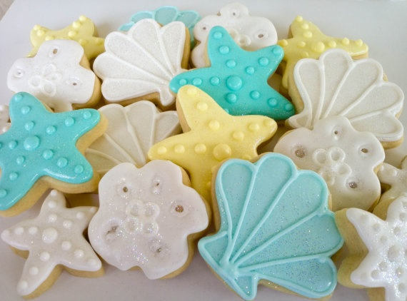 Sea shell Mini Sugar Cookies 3 dozen by acookiejar on Etsy, $33.95