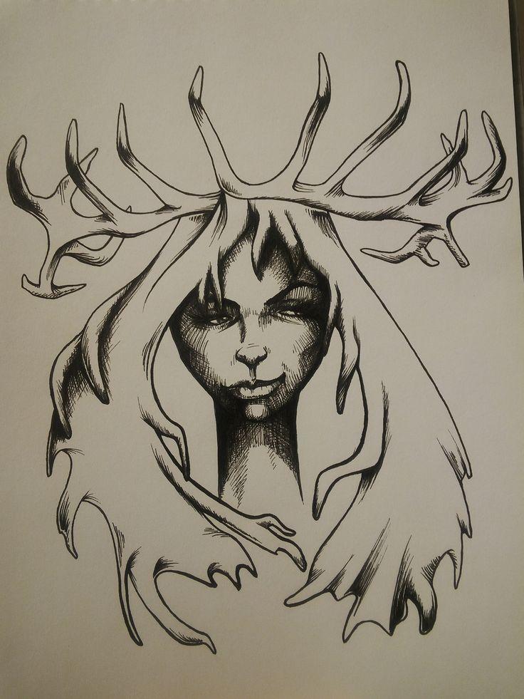 #inktober stag lady