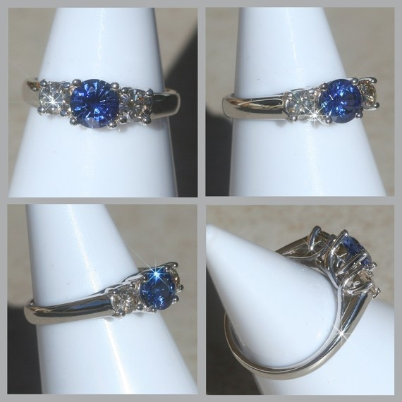 Blue Sapphire and Diamond Three Stone Ring with light champagne diamonds.