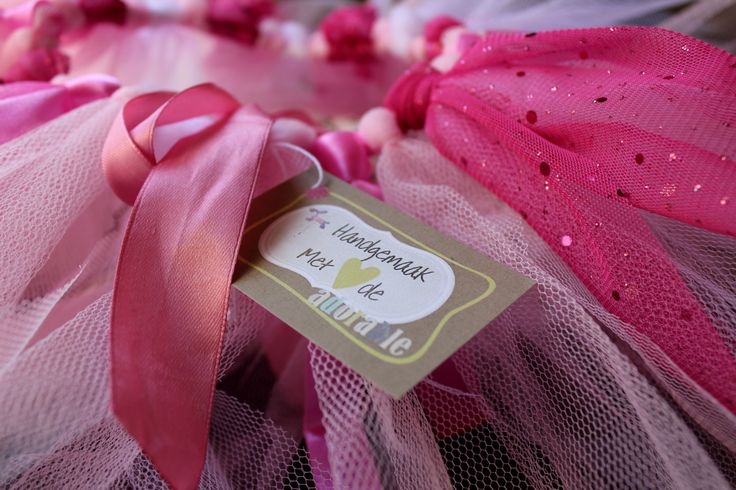 Pink and white tutu made with love