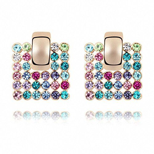 TAOTAOHAS Swarovski Elements Austrian Crystal Crystallized Stud Earring [Honey of Love] 18KGP Rhinestone