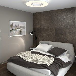 Брутальный интерьер спальной комнаты, темные стены в контрасте с кроватью. Интерьер в стиле Лофт. Interior design, contrast walls, loft style.