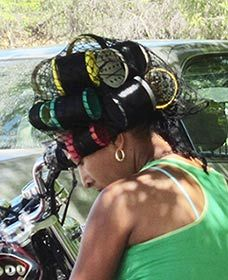 Dominican women use big rollers!