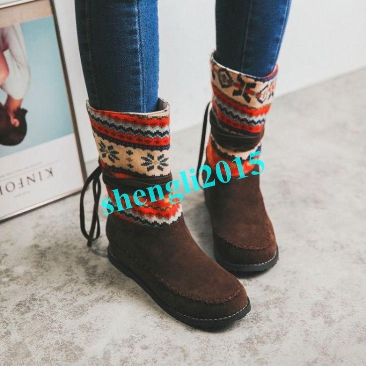 Womens Ethnic Embroidery Wedge Heel Winter Warm Mid Calf Boots Bohemia Shoes