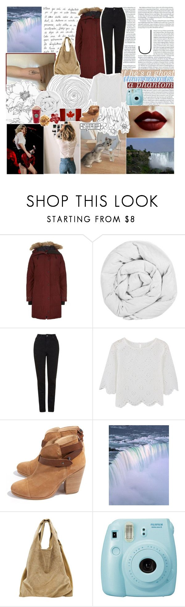 """""""☾ i see nothing better"""" by thundxrstorms ❤ liked on Polyvore featuring GET LOST, Canada Goose, The Fine Bedding Company, Topshop, rag & bone, Alexander Wang, Fujifilm, country and zoesworldtripchallenge"""