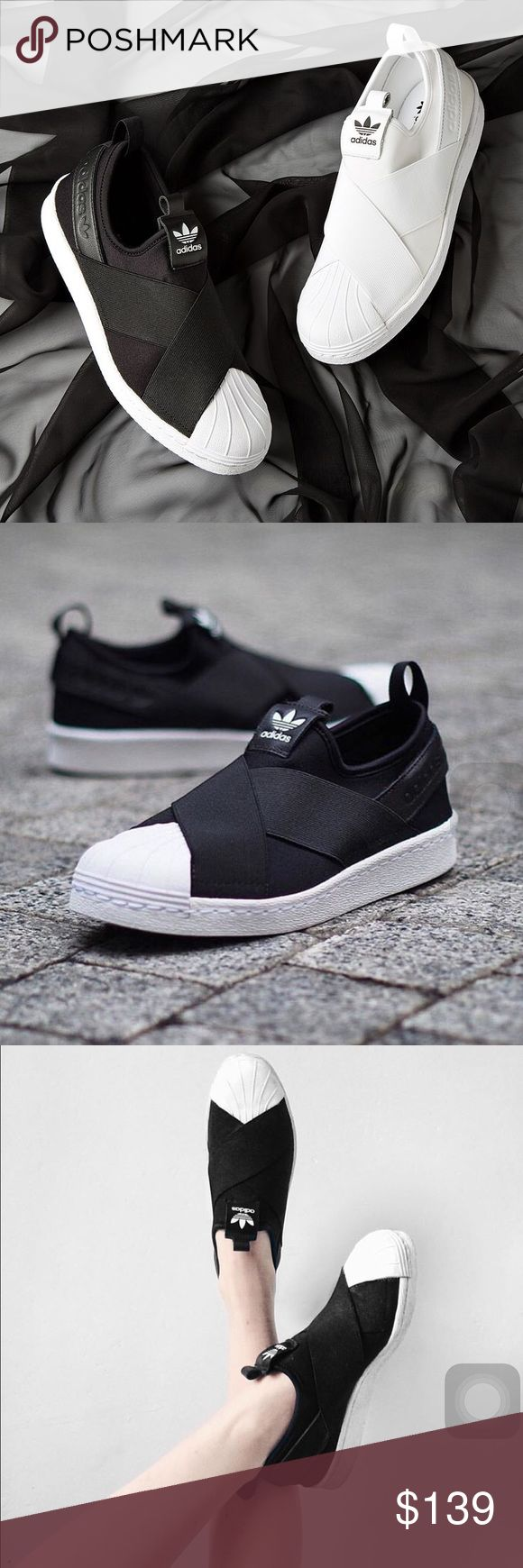 Adidas Superstar Slip on in Black & White Available in both colors and all sizes Adidas Shoes Sneakers
