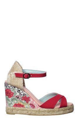 Desigual women's Esparto Bloquealto sandals, with an esparto grass sole.  Wedge height: 10