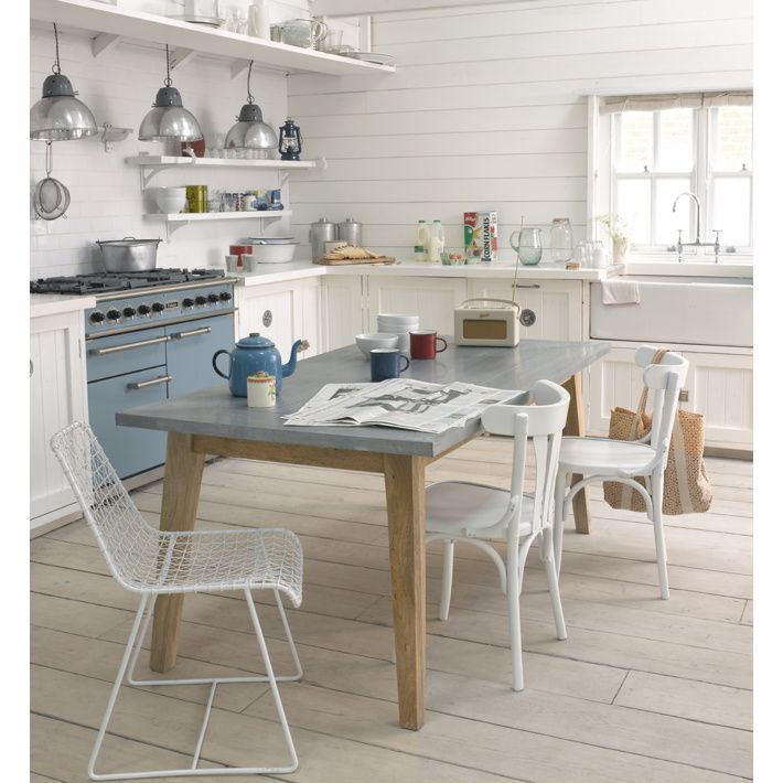 Geronimo White - Kitchen chairs | Loaf mix with rustic wood table and multi coloured chairs ......