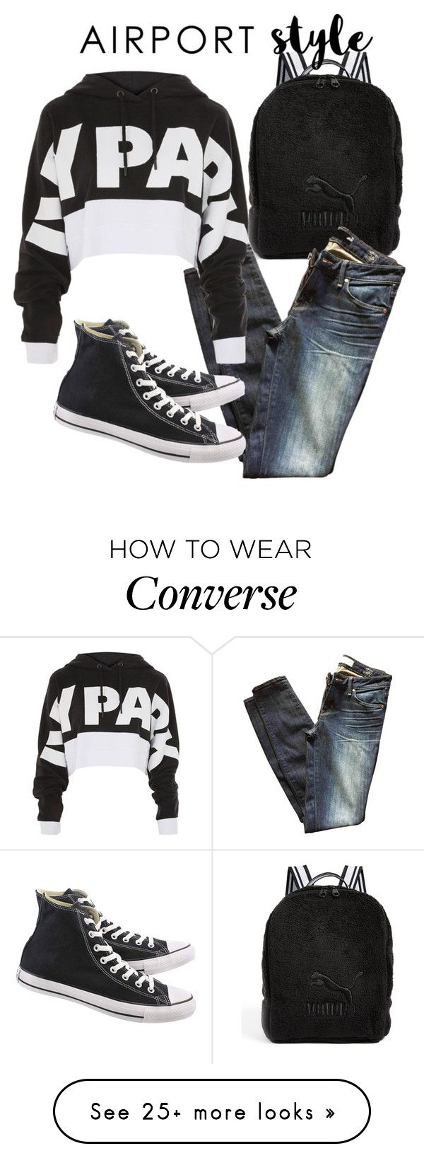 """""""Airport comfy clothes"""" by abatevintage on Polyvore featuring Puma, Marc by Marc Jacobs, Topshop, Converse and airportstyle"""