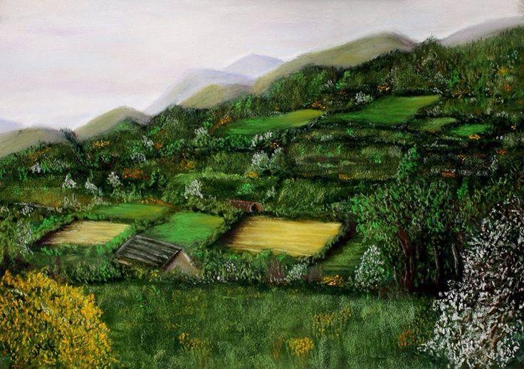 Through hawthorn and gorse. Soft pastel painted en plein air, near Clonmel, Co. Tipperary.