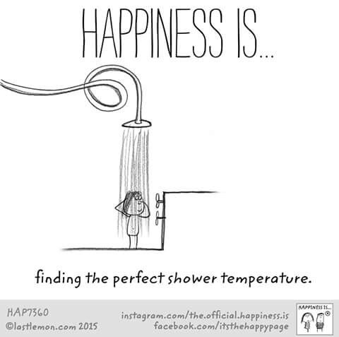 Happiness is finding the perfect shower temperature.