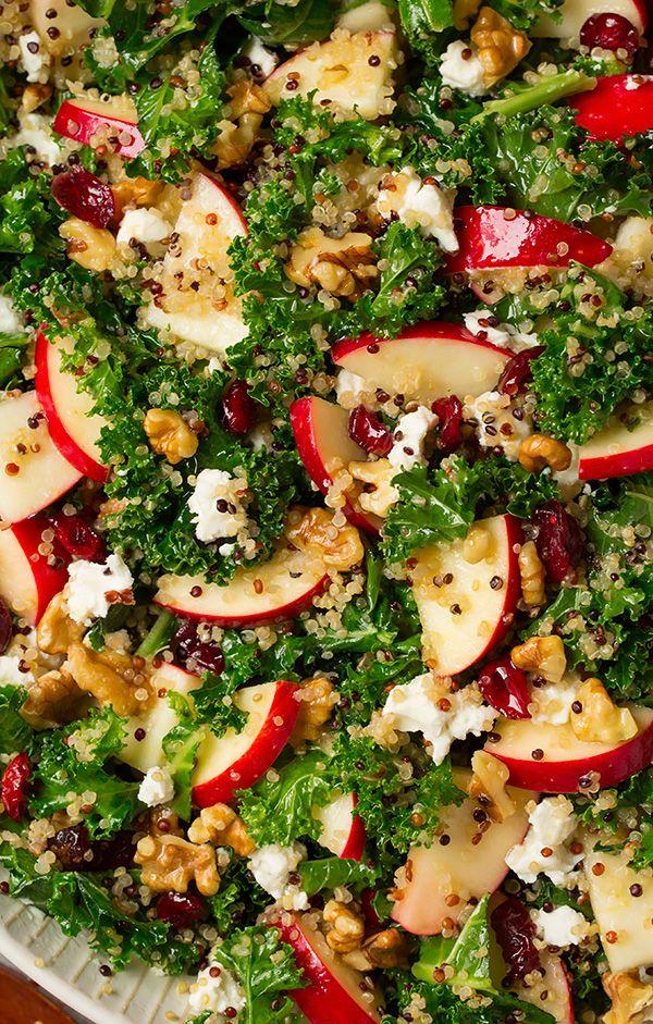 Autumn Kale Apple and Quinoa Salad with walnuts, dry cranberries, goat cheese & lemon vinaigrette