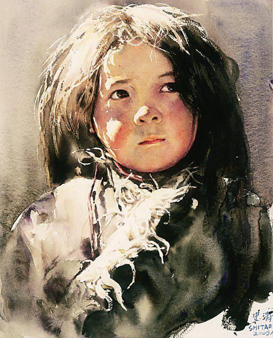 watercolor by Shi Tao (b. 1960, China) Tibetan girl