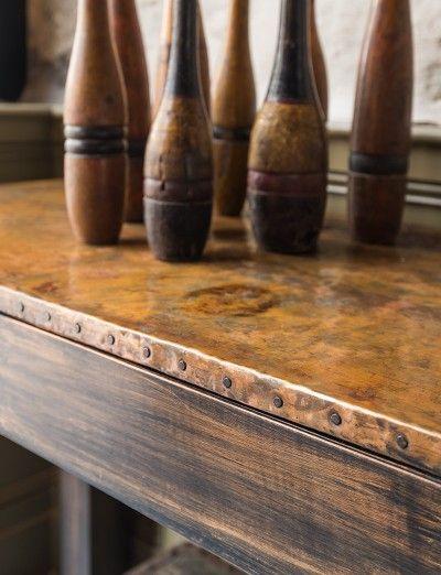 Custom koperen afwerking voor tafels, consoles,...