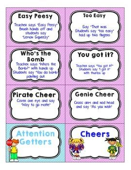 Attention-Grabbers-Chants-and-Cheers-1988887 Teaching Resources - TeachersPayTeachers.com