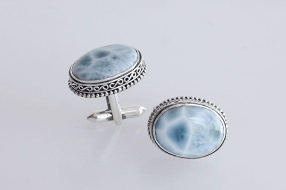 Gorgeous Authentic Larimar Stone Cufflinks Jewelry, 925 Sterling Silver, Mens Cufflinks, Designer Cufflinks, Blue Larimar GemStone, Inc-11