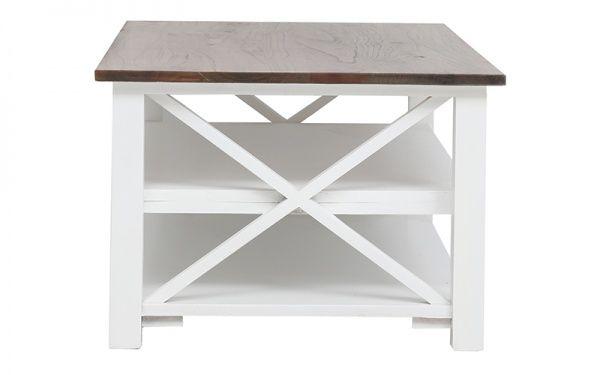 Darby Coffee Table With Shelf White/Choc | OZ Design Furniture & Homewares