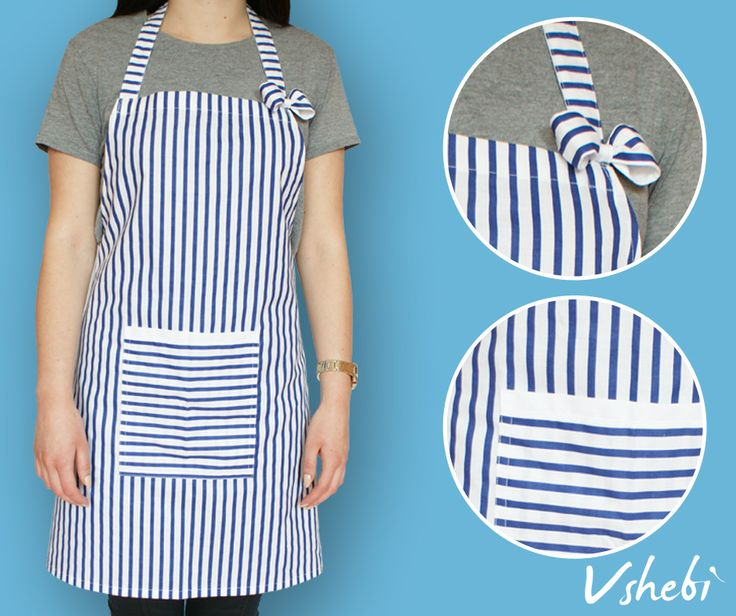 Navy and white striped apron to remind you of the relaxing feel that you get when you sink your toes in the sand and feel the sea breeze. This apron has a very handy pocket on the front. It's decorated with cute bow and lace ribbon. All aprons are one size but I'm open to customize it. Length: 71 cm Width: 74 cm Tie: 90 cm 100% Cotton
