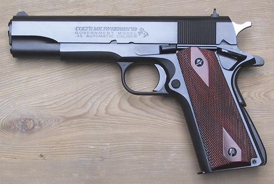 Colt .45 Automatic Mark IV Series 70 Government Model with a blued finish: