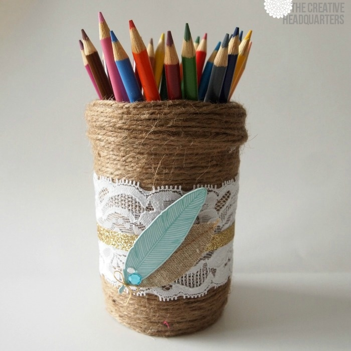 Stylize your desk with this [FABULOUS] twine and lace Ball jar pencil holder!