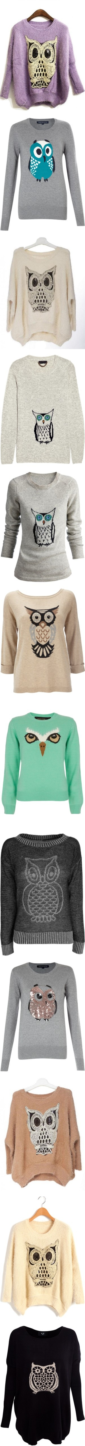 """owl shirts"" by elizabethnae on Polyvore"